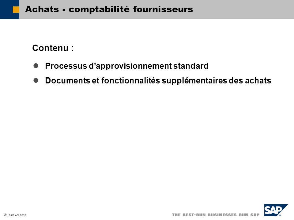 SAP AG 2003 Processus d'approvisionnement standard Documents et fonctionnalités supplémentaires des achats Contenu : Achats - comptabilité fournisseur