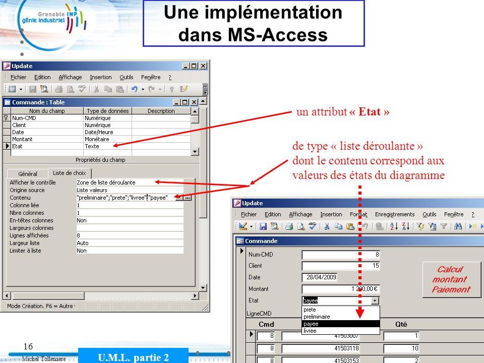 Michel Tollenaere U.M.L. partie 2 16 Une implémentation dans MS-Access un attribut « Etat » de type « liste déroulante » dont le contenu correspond au