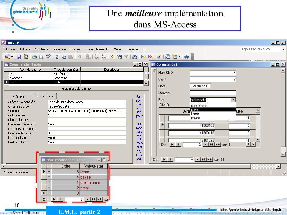 Michel Tollenaere U.M.L. partie 2 18 Une meilleure implémentation dans MS-Access