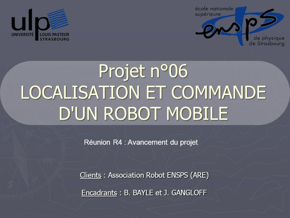 Projet n°06 LOCALISATION ET COMMANDE D UN ROBOT MOBILE Clients : Association Robot ENSPS (ARE) Encadrants : B.