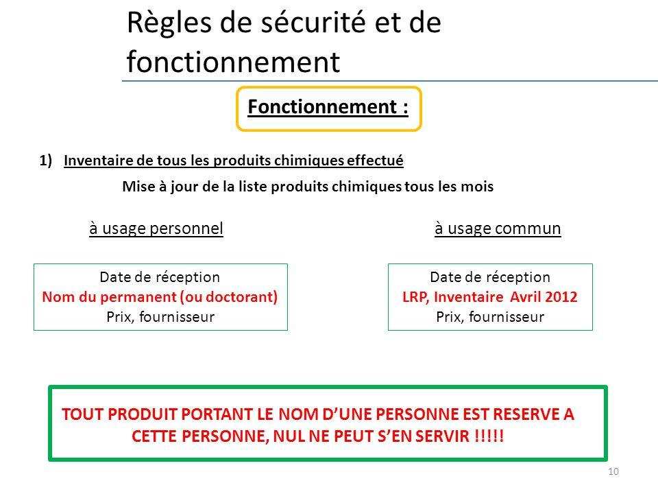 10 Règles de sécurité et de fonctionnement 1)Inventaire de tous les produits chimiques effectué Fonctionnement : à usage personnel à usage commun TOUT
