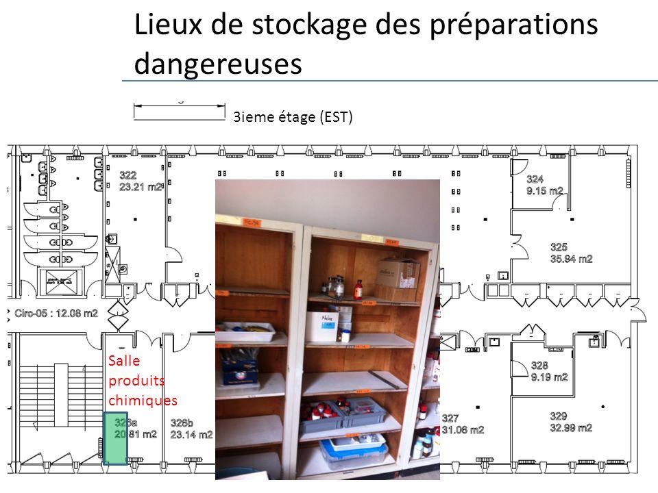 14 3ieme étage (EST) Lieux de stockage des préparations dangereuses Salle produits chimiques