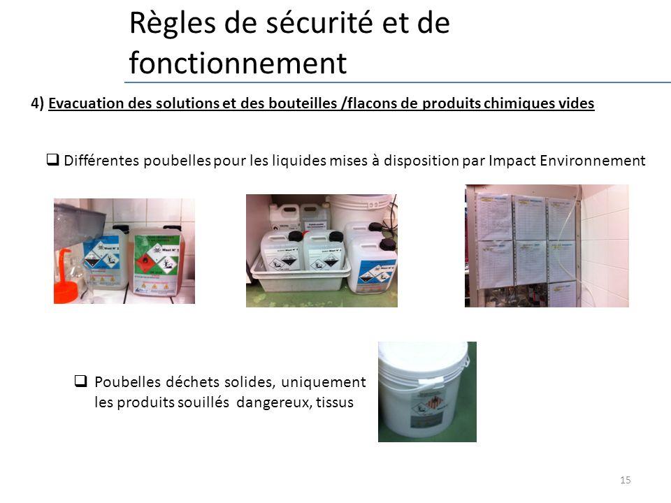 15 Règles de sécurité et de fonctionnement 4) Evacuation des solutions et des bouteilles /flacons de produits chimiques vides Différentes poubelles pour les liquides mises à disposition par Impact Environnement Poubelles déchets solides, uniquement les produits souillés dangereux, tissus