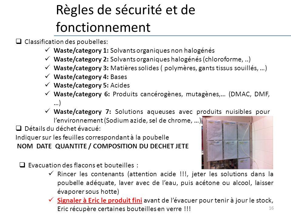 16 Règles de sécurité et de fonctionnement Evacuation des flacons et bouteilles : Rincer les contenants (attention acide !!!, jeter les solutions dans
