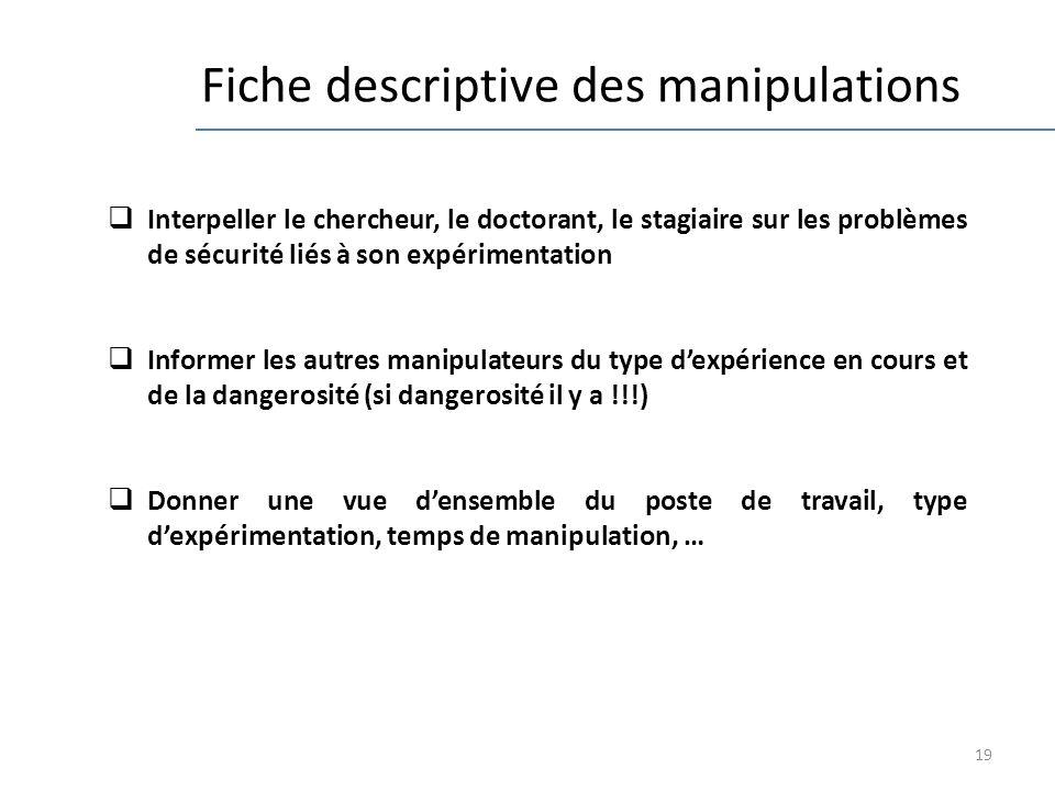 19 Fiche descriptive des manipulations Interpeller le chercheur, le doctorant, le stagiaire sur les problèmes de sécurité liés à son expérimentation I