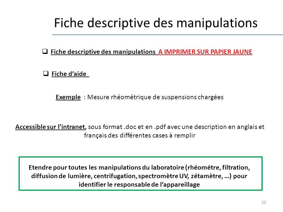 20 Fiche descriptive des manipulations Etendre pour toutes les manipulations du laboratoire (rhéométre, filtration, diffusion de lumière, centrifugati