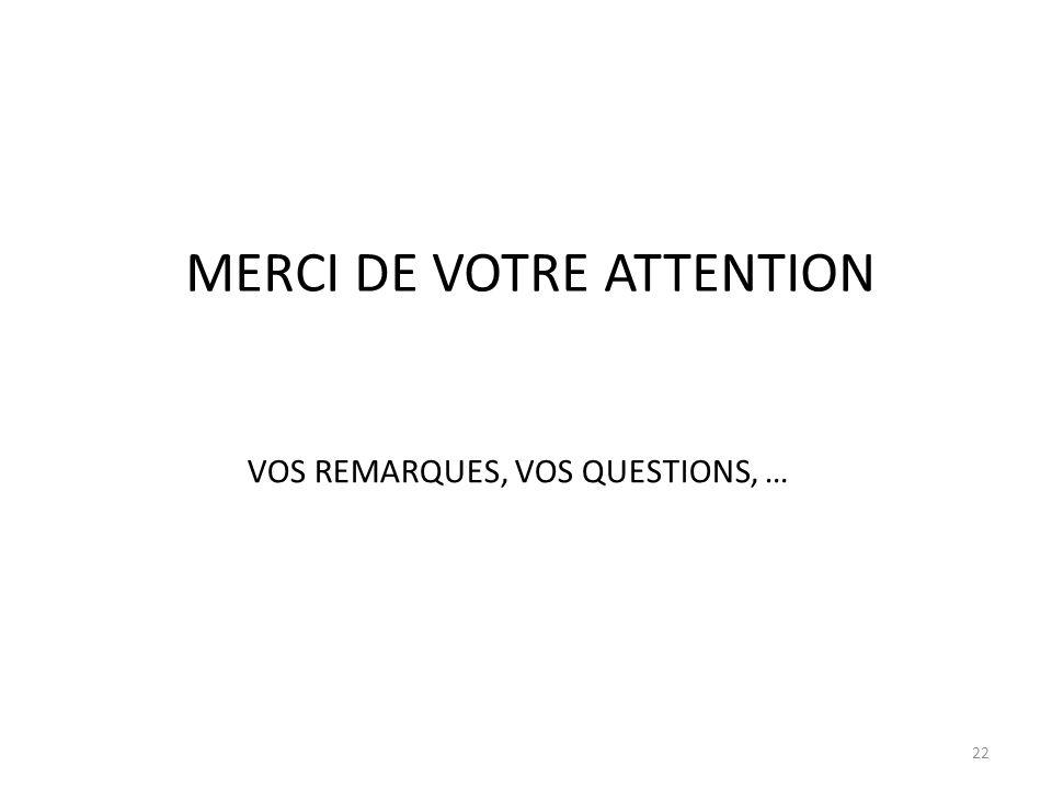 22 MERCI DE VOTRE ATTENTION VOS REMARQUES, VOS QUESTIONS, …