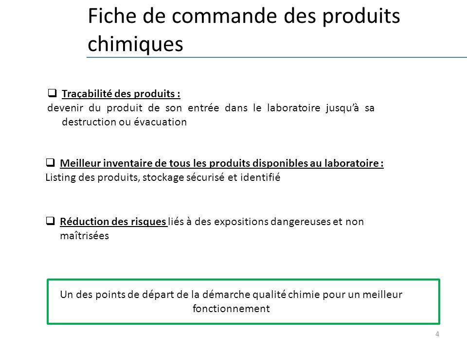 4 Fiche de commande des produits chimiques Traçabilité des produits : devenir du produit de son entrée dans le laboratoire jusquà sa destruction ou év