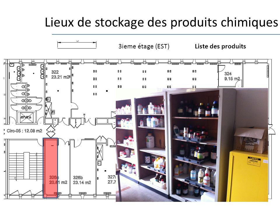 8 Lieux de stockage des produits chimiques 3ieme étage (EST)Liste des produits