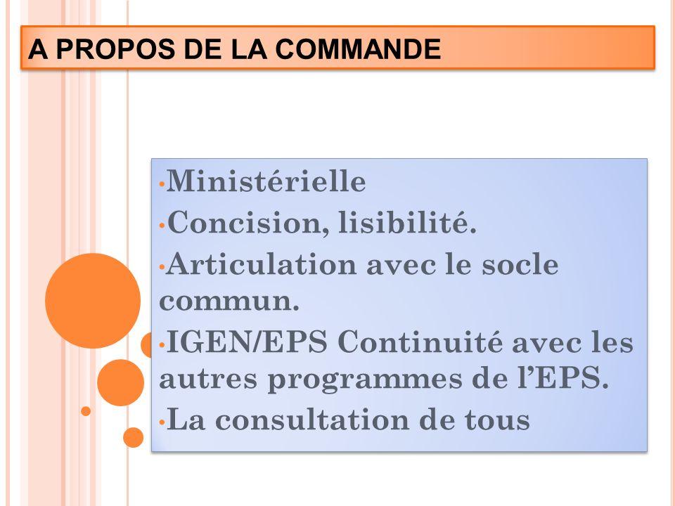 A PROPOS DE LA COMMANDE Ministérielle Concision, lisibilité. Articulation avec le socle commun. IGEN/EPS Continuité avec les autres programmes de lEPS