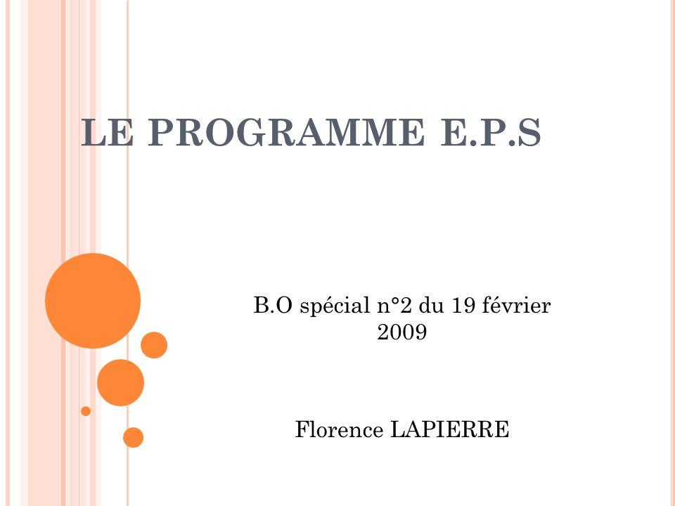 PROGRAMMES DEDUCATION PHYSIQUE ET SPORTIVE ET LACCOMPAGNEMENT EN ACADÉMIE 1.
