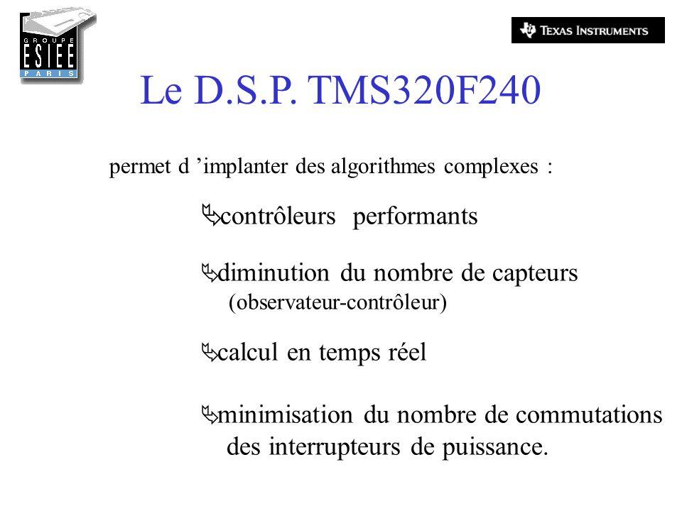 Le D.S.P. TMS320F240 permet d implanter des algorithmes complexes : contrôleurs performants diminution du nombre de capteurs (observateur-contrôleur)