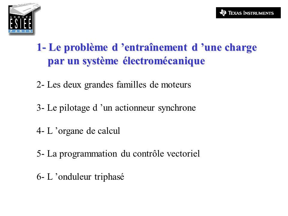 1- Le problème d entraînement d une charge par un système électromécanique par un système électromécanique 2- Les deux grandes familles de moteurs 3-