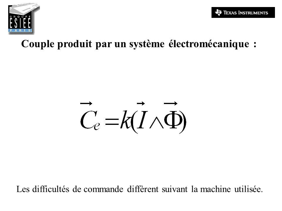 Couple produit par un système électromécanique : Les difficultés de commande diffèrent suivant la machine utilisée.