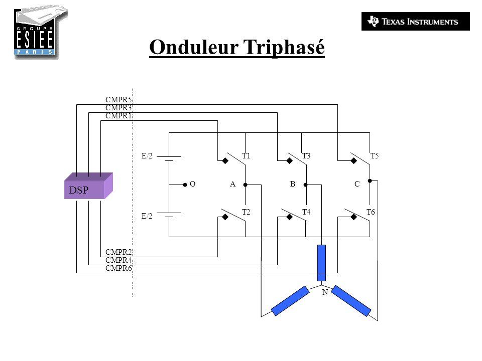 Onduleur Triphasé E/2 O T1 T2 T3 T4 T5 T6 N ABC DSP CMPR1 CMPR3 CMPR5 CMPR4 CMPR2 CMPR6