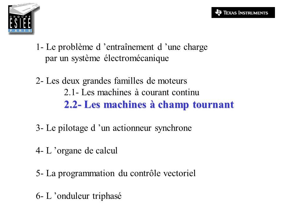1- Le problème d entraînement d une charge par un système électromécanique 2- Les deux grandes familles de moteurs 2.1- Les machines à courant continu