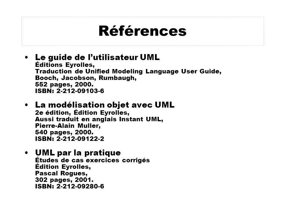 Références Le guide de lutilisateur UML Éditions Eyrolles, Traduction de Unified Modeling Language User Guide, Booch, Jacobson, Rumbaugh, 552 pages, 2000.