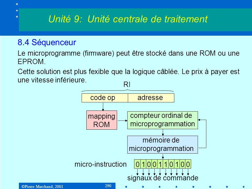 ©Pierre Marchand, 2001 290 8.4 Séquenceur Le microprogramme (firmware) peut être stocké dans une ROM ou une EPROM. Cette solution est plus fexible que