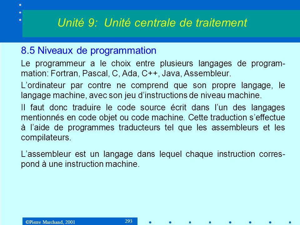 ©Pierre Marchand, 2001 293 8.5 Niveaux de programmation Le programmeur a le choix entre plusieurs langages de program- mation: Fortran, Pascal, C, Ada