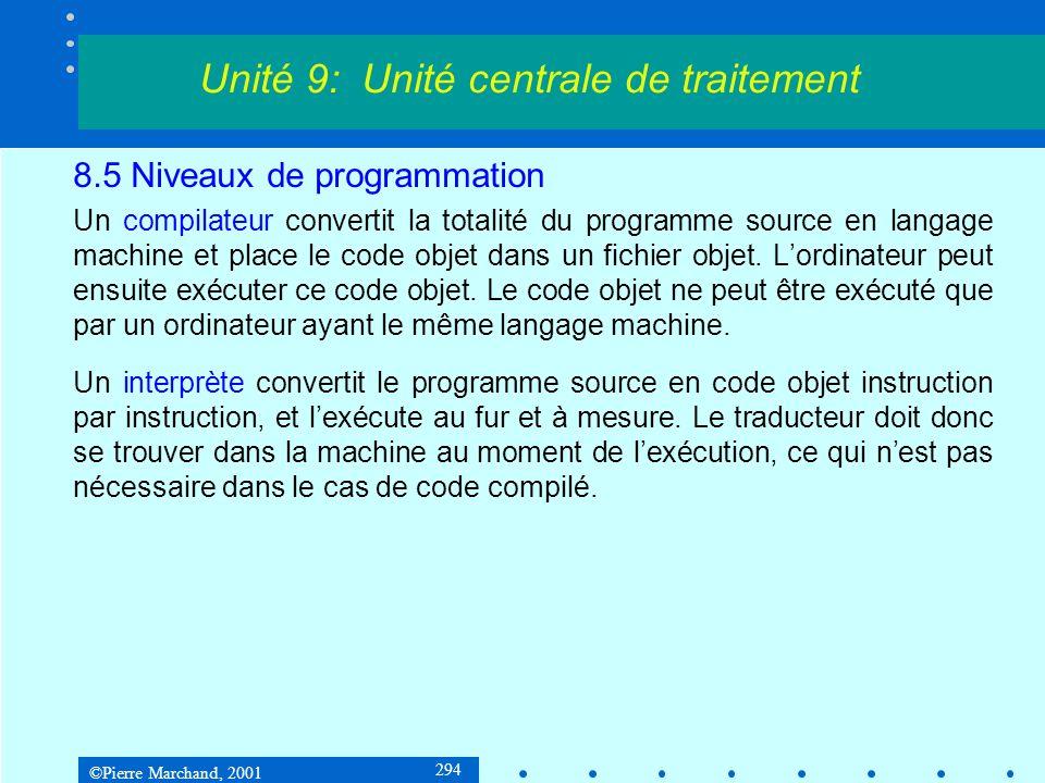 ©Pierre Marchand, 2001 294 8.5 Niveaux de programmation Un compilateur convertit la totalité du programme source en langage machine et place le code o