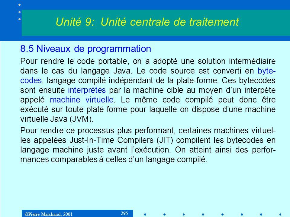©Pierre Marchand, 2001 295 8.5 Niveaux de programmation Pour rendre le code portable, on a adopté une solution intermédiaire dans le cas du langage Ja