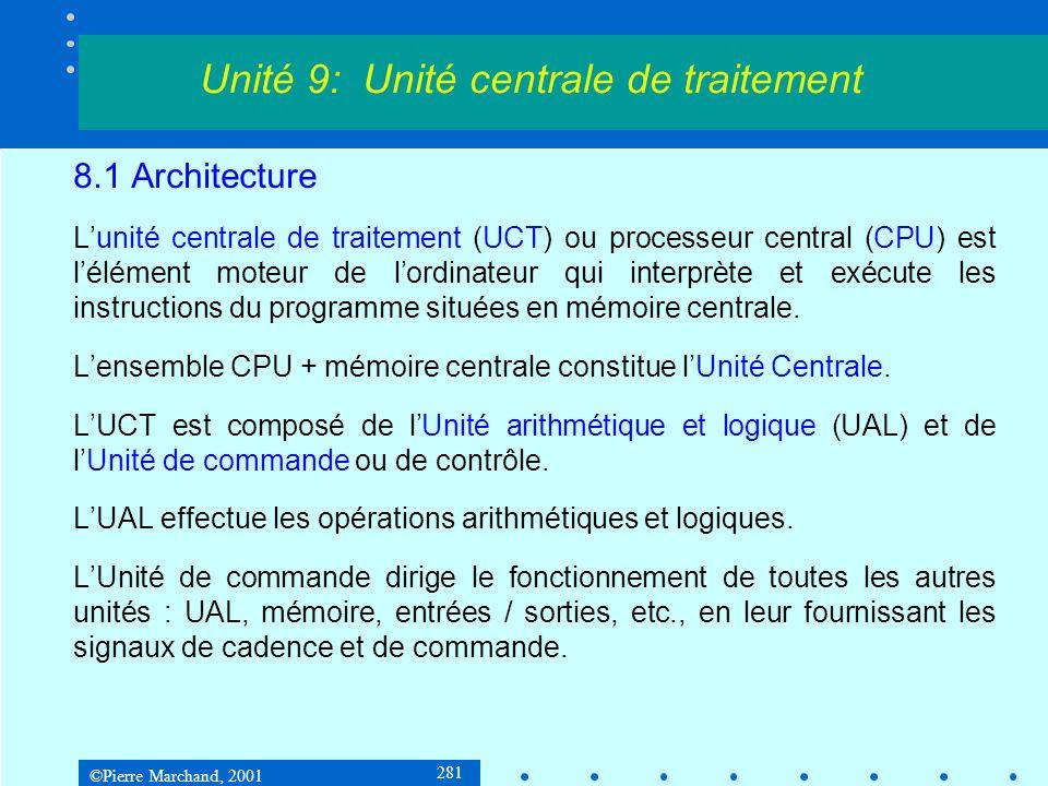 ©Pierre Marchand, 2001 281 8.1 Architecture Lunité centrale de traitement (UCT) ou processeur central (CPU) est lélément moteur de lordinateur qui int