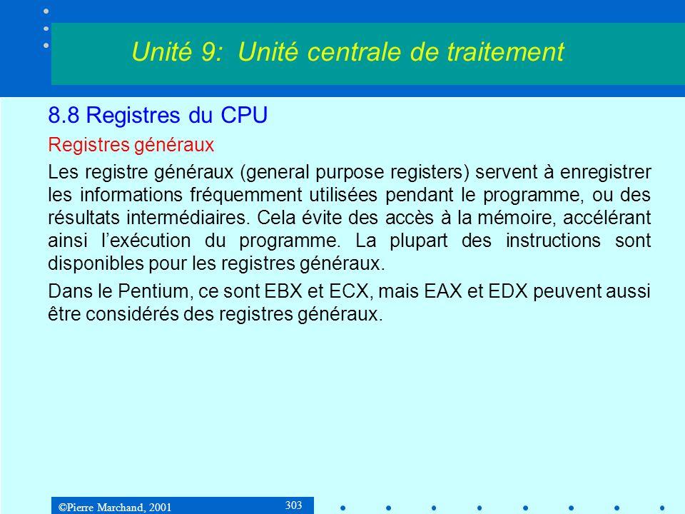©Pierre Marchand, 2001 303 8.8 Registres du CPU Registres généraux Les registre généraux (general purpose registers) servent à enregistrer les informa