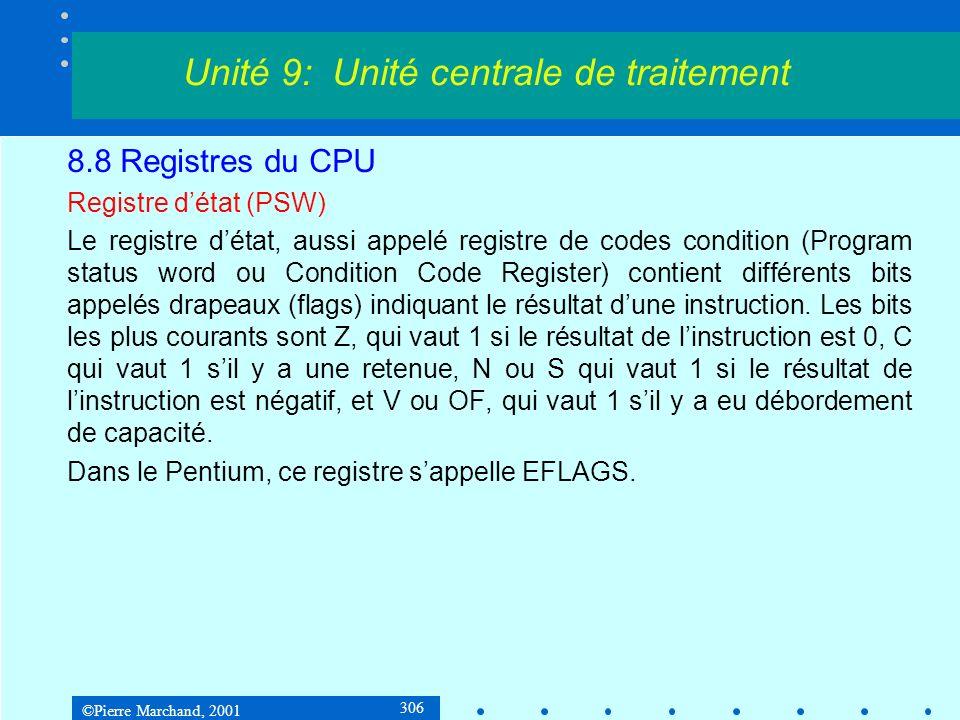©Pierre Marchand, 2001 306 8.8 Registres du CPU Registre détat (PSW) Le registre détat, aussi appelé registre de codes condition (Program status word