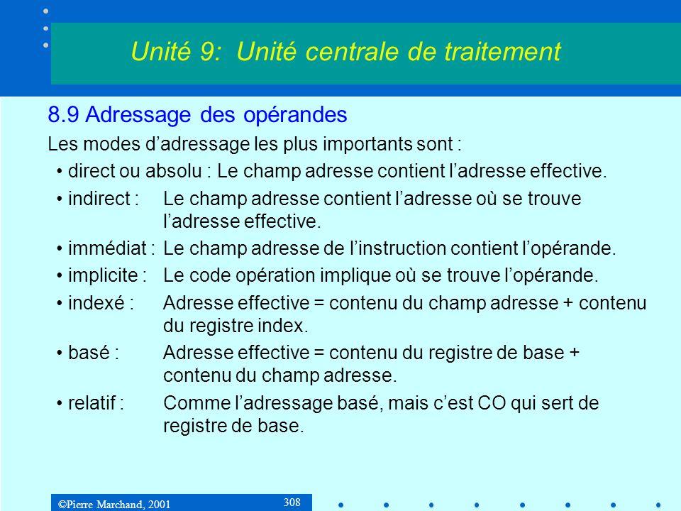 ©Pierre Marchand, 2001 308 8.9 Adressage des opérandes Les modes dadressage les plus importants sont : direct ou absolu : Le champ adresse contient la