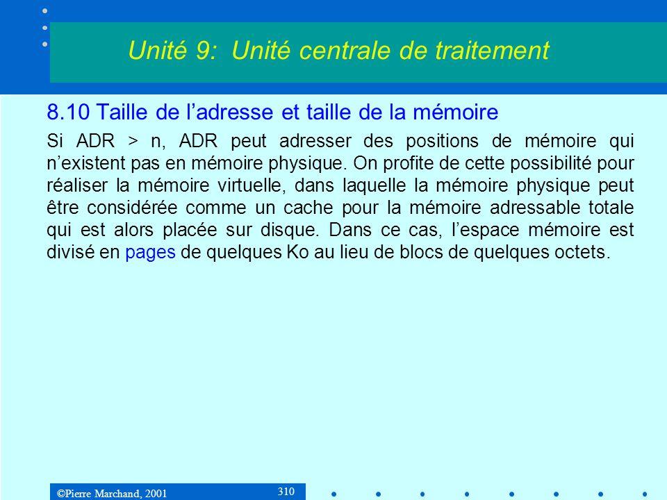 ©Pierre Marchand, 2001 310 8.10 Taille de ladresse et taille de la mémoire Si ADR > n, ADR peut adresser des positions de mémoire qui nexistent pas en