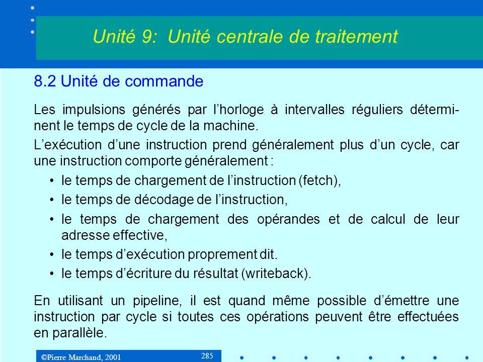 ©Pierre Marchand, 2001 285 8.2 Unité de commande Les impulsions générés par lhorloge à intervalles réguliers détermi- nent le temps de cycle de la mac