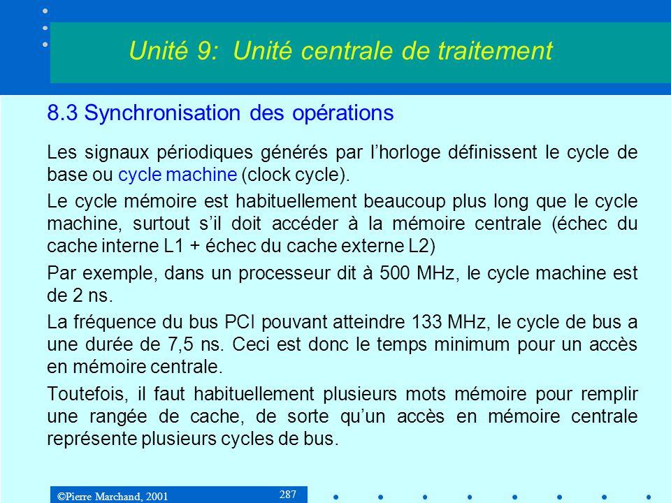 ©Pierre Marchand, 2001 287 8.3 Synchronisation des opérations Les signaux périodiques générés par lhorloge définissent le cycle de base ou cycle machi