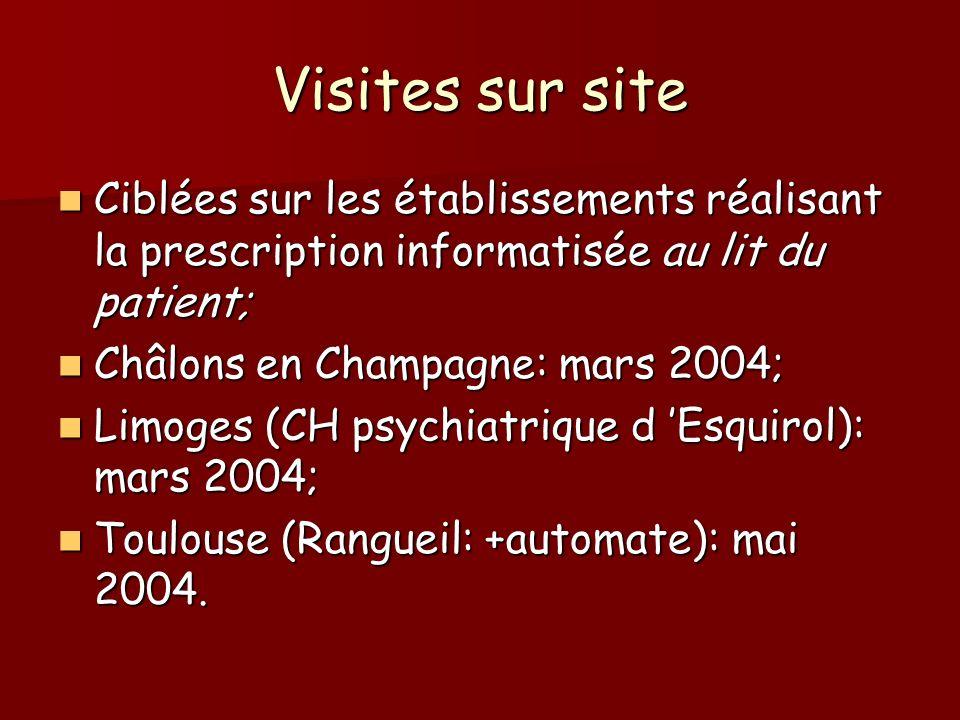 Visites sur site Ciblées sur les établissements réalisant la prescription informatisée au lit du patient; Ciblées sur les établissements réalisant la prescription informatisée au lit du patient; Châlons en Champagne: mars 2004; Châlons en Champagne: mars 2004; Limoges (CH psychiatrique d Esquirol): mars 2004; Limoges (CH psychiatrique d Esquirol): mars 2004; Toulouse (Rangueil: +automate): mai 2004.