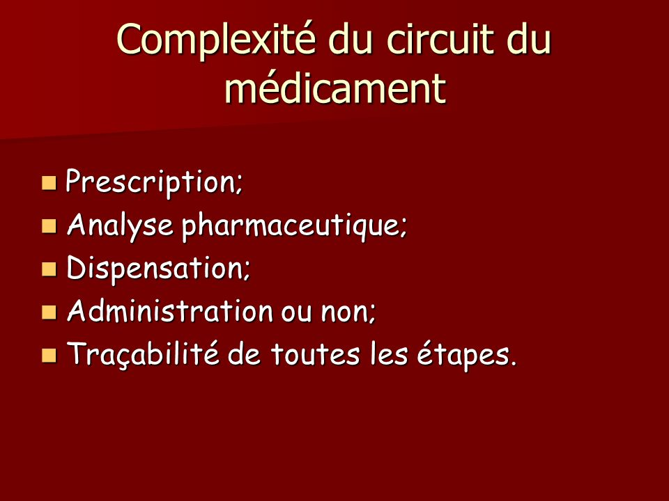 Complexité du circuit du médicament Prescription; Prescription; Analyse pharmaceutique; Analyse pharmaceutique; Dispensation; Dispensation; Administra