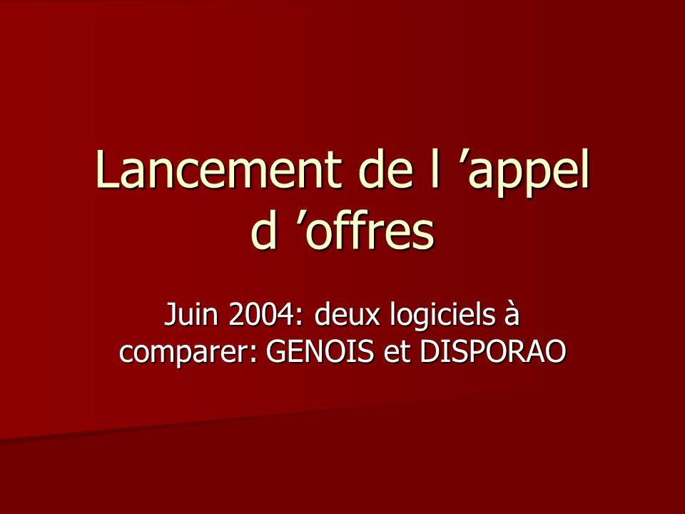 Lancement de l appel d offres Juin 2004: deux logiciels à comparer: GENOIS et DISPORAO