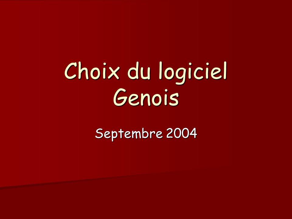 Choix du logiciel Genois Septembre 2004