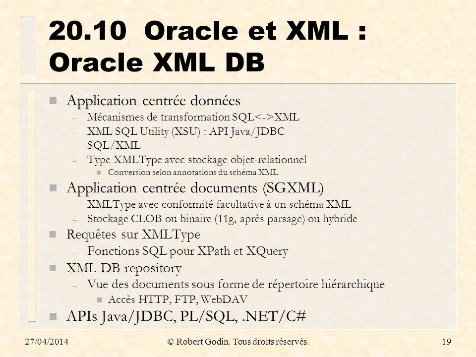 27/04/2014© Robert Godin. Tous droits réservés.19 20.10Oracle et XML : Oracle XML DB n Application centrée données – Mécanismes de transformation SQL