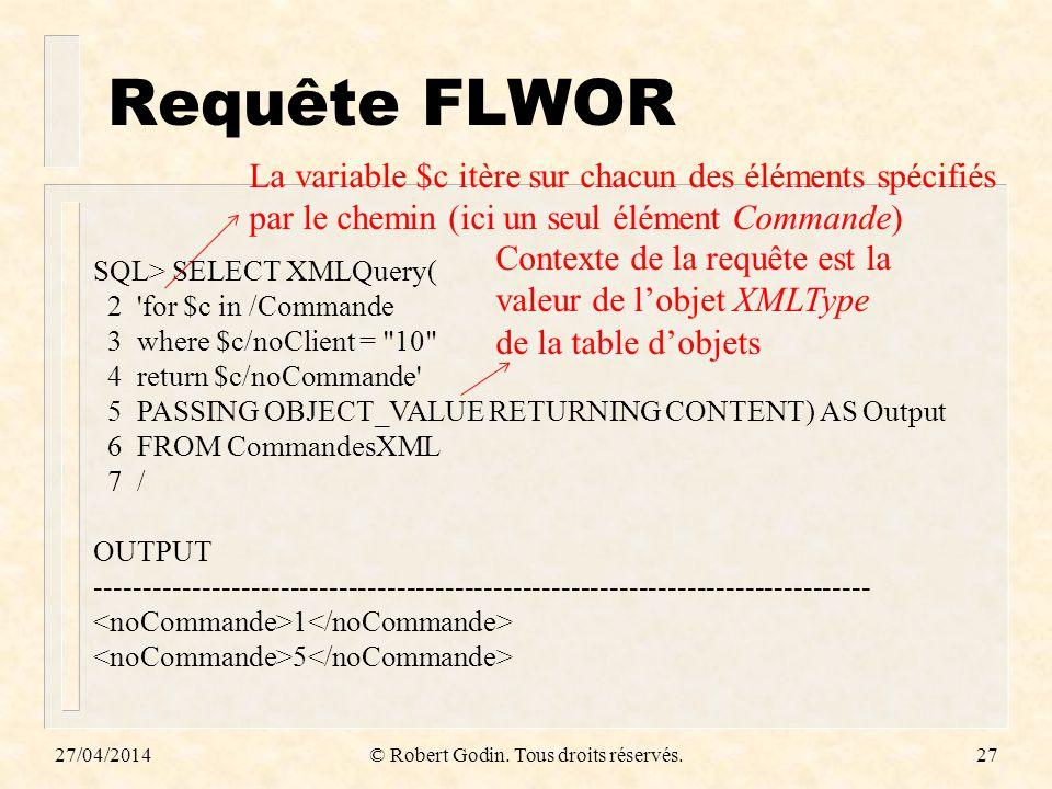 Requête FLWOR 27/04/2014© Robert Godin. Tous droits réservés.27 SQL> SELECT XMLQuery( 2 'for $c in /Commande 3 where $c/noClient =