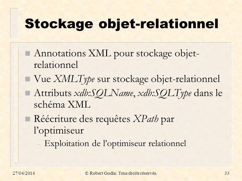 27/04/2014© Robert Godin. Tous droits réservés.33 Stockage objet-relationnel n Annotations XML pour stockage objet- relationnel n Vue XMLType sur stoc