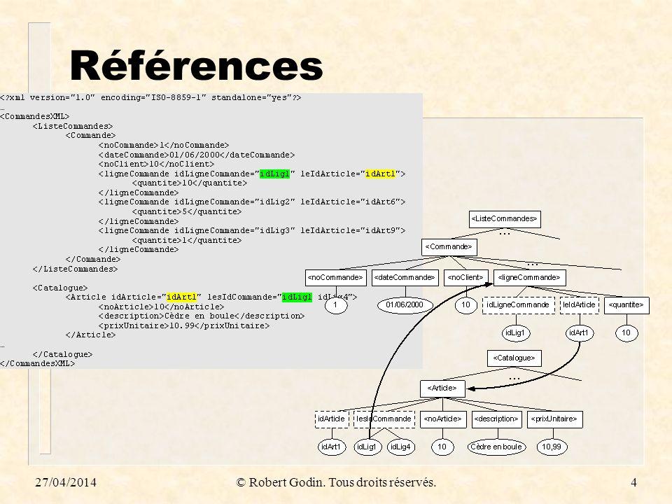 Expressions XQuery n Expression primaire – litéral, variable, fonction n Séquence – «, » est le constructeur n Expression XPath n Expression FLWOR – FOR, LET, WHERE, ORDER BY, RETURN n Expression conditionnelle, arithmétique, relationnelle, régulière, quantifiée, … 27/04/2014© Robert Godin.