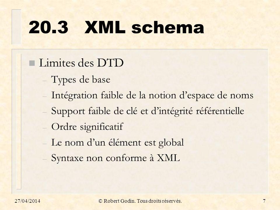 27/04/2014© Robert Godin. Tous droits réservés.7 20.3XML schema n Limites des DTD – Types de base – Intégration faible de la notion despace de noms –