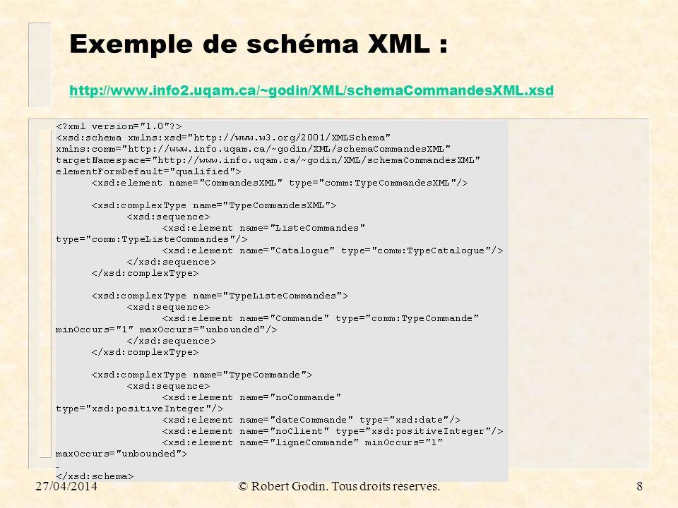 27/04/2014© Robert Godin. Tous droits réservés.8 Exemple de schéma XML : http://www.info2.uqam.ca/~godin/XML/schemaCommandesXML.xsd http://www.info2.u