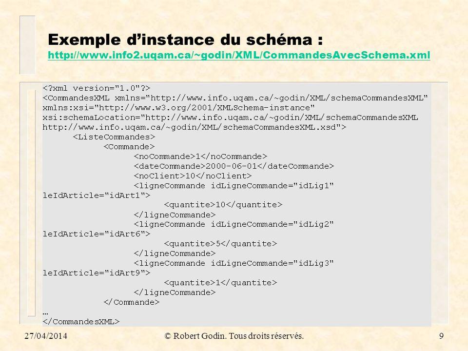 27/04/2014© Robert Godin. Tous droits réservés.9 Exemple dinstance du schéma : http://www.info2.uqam.ca/~godin/XML/CommandesAvecSchema.xml http://www.