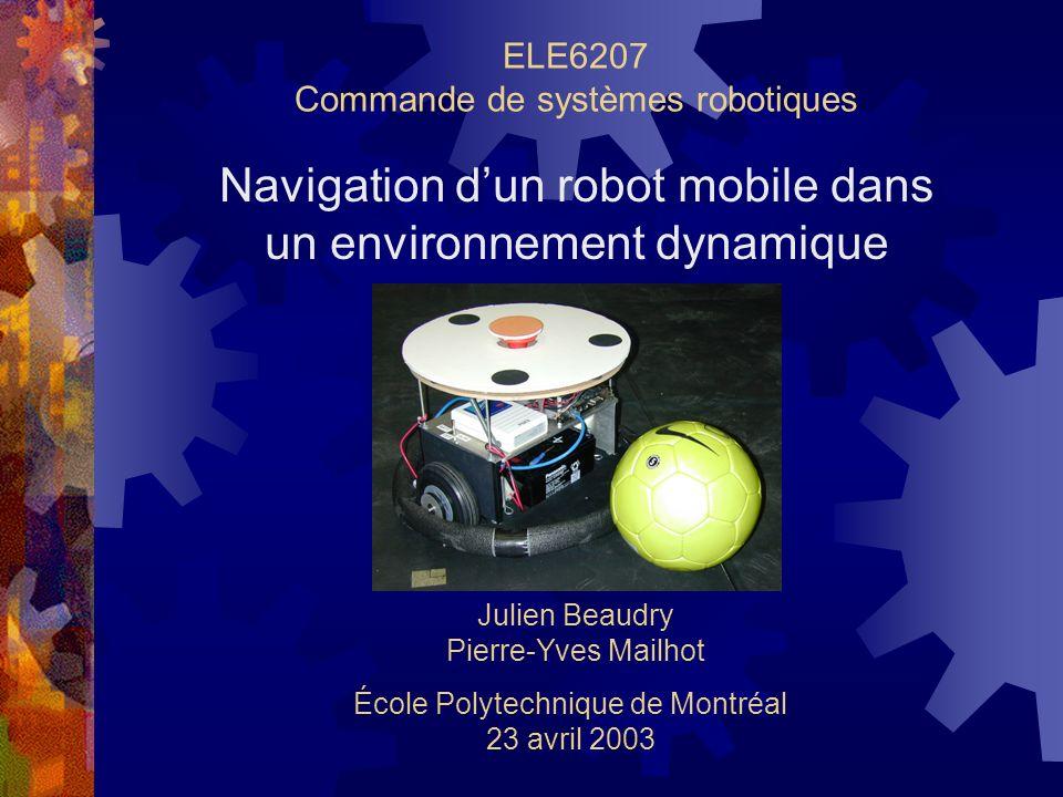 ELE6207 Commande de systèmes robotiques Navigation dun robot mobile dans un environnement dynamique Julien Beaudry Pierre-Yves Mailhot École Polytechn