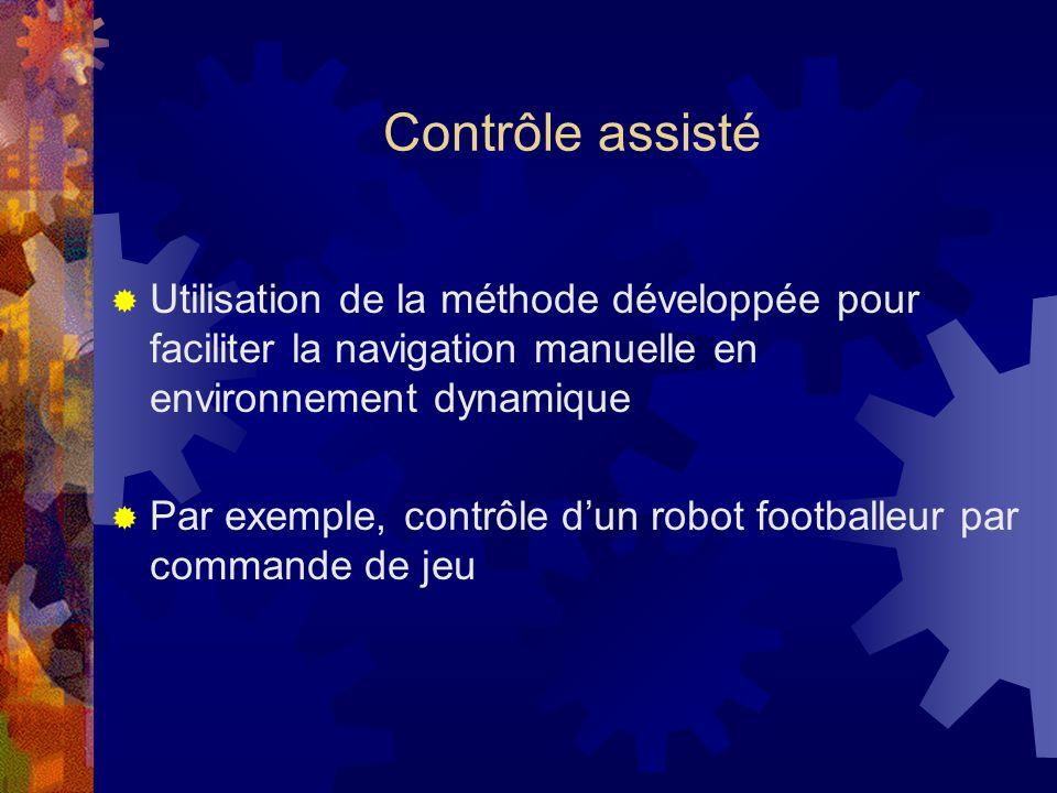 Contrôle assisté Utilisation de la méthode développée pour faciliter la navigation manuelle en environnement dynamique Par exemple, contrôle dun robot