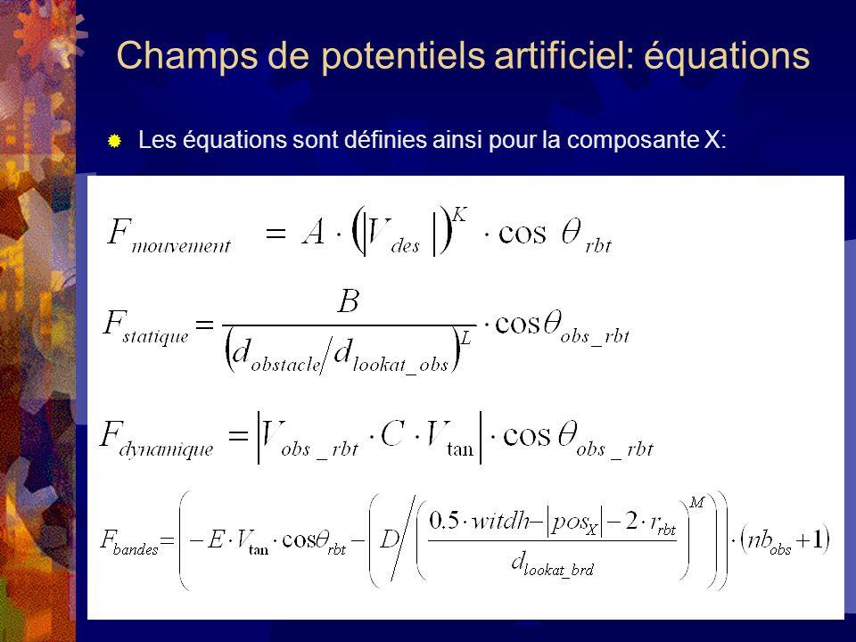 Les équations sont définies ainsi pour la composante X: Champs de potentiels artificiel: équations