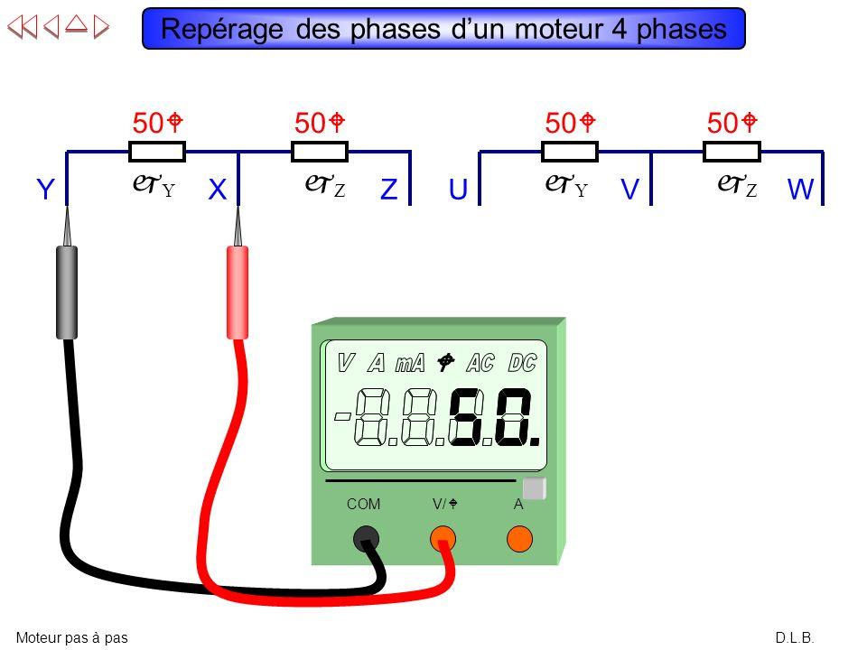 D.L.B. Repérage des phases dun moteur 4 phases Moteur pas à pas Y X Z W V U