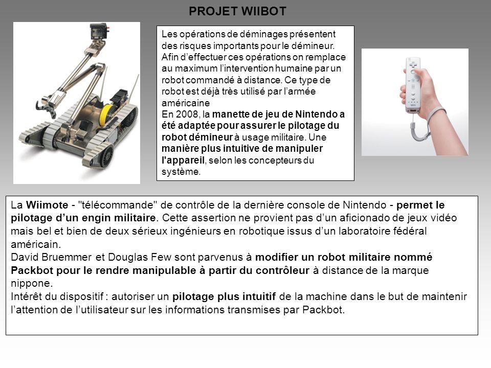 Dans le cadre des PPE du lycée Louis Payen, nous nous proposons de réaliser un prototype de robot démineur piloté par une télécommande wiimote, robot que nous appellerons « WIIBOT » Le prototype sera composé dune propulsion par deux moteurs électriques à transmission par courroie, dune pince 3 axes, dune caméra 2 axes, et dune télécommande wiimote de Nintendo.