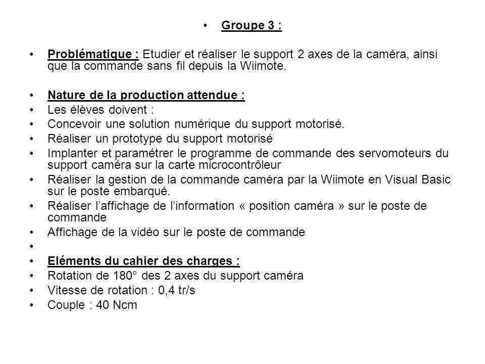 Groupe 4 Problématique : Etudier et réaliser le système « pince de robot », ainsi que la commande sans fil depuis la Wiimote.
