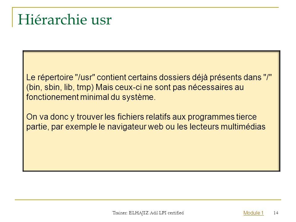 Module 1 Hiérarchie usr Trainer: ELHAJIZ Adil LPI certified 14